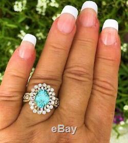 18k Yellow Gold 5.98 Ct Gia Certified Neon Blue Paraiba Tourmaline Diamond Ring