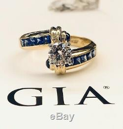 18k Yellow Gold GIA Certified 1.50 Ct IF, G Round Diamond & Blue Sapphire Ring