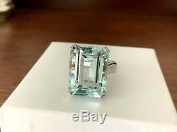 19.06 carat Natural Aquamarine and Diamond Ring 18k White Gold GIA Certified