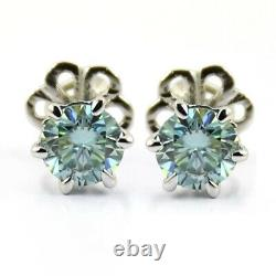 1ct Certified Blue Diamond Solitaire Studs In prong Setting