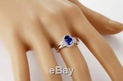 2.00 Carat Natural Blue Tanzanite EGL Certified Diamond Ring In 14KT White Gold