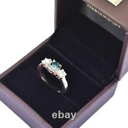 2.00 Ct Certified Natural Earth Mined Blue Diamond Ring With White Diamonds