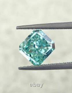 2.01 carat Fancy vivid Green VVS2 Loose Natural Diamond Radiant Cut Certified