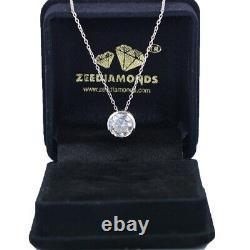 2.05 Ct Certified Off White Diamond Pendant in Bezel Setting in White Gold