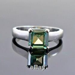2.15 Ct Certified Asscher Cut Blue Diamond Ring, Unisex Ring, Earth Mined