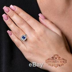 2.16 TCW AIGS Certified Natural Blue Sapphire in 18 krt White Gold Diamond Ring