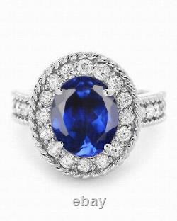 2.20 Carat 18KT White Gold Natural Blue Tanzanite & EGL Certified Diamond Ring
