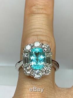 2.26 carat Natural UNTREATED BRAZILIAN Paraiba and Diamond Ring AGL Certified