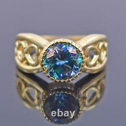 2.2Ct Certified Blue Diamond Solitaire Ring In 18kt Yellow Gold