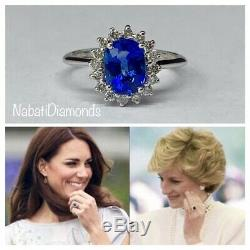 2.3 CT Natural Royal Blue Sapphire & Diamond Ring Certified 14k White Gold