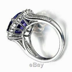 2.30 Carat Natural Blue Tanzanite EGL Certified Diamond Ring In 14KT White Gold