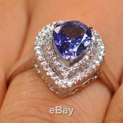 2.35 Carat Natural Blue Tanzanite EGL Certified Diamond Ring In 14KT White Gold