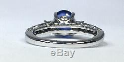 2.38 ct NATURAL DIAMOND & certified royal blue SAPPHIRE ring 18k white GOLD