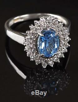 2.45 Carat Real 14KT White Gold Natural Blue Topaz EGL Certified Diamond Ring