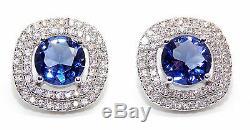 2.55 Carat 14KT White Gold Natural Blue Tanzanite IGI Certified Diamond Studs