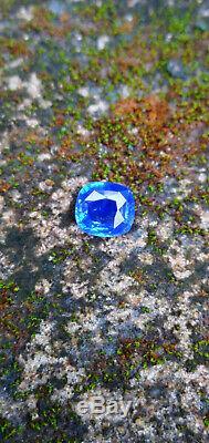2.56CT Certified Ceylon Natural Blue Sapphire Cornflower Colour Cushion Cut Ring