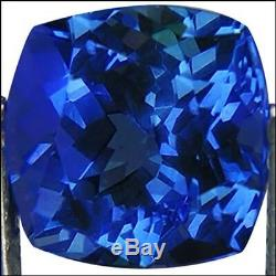 2.58 Ct IGI Certified AA+ Natural DBlock Tanzanite Green Blue Violet Cushion Cut