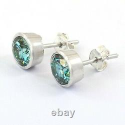 2.70 Ct Certified Blue Diamond Solitaire Studs In Bezel Setting, Excellent Luster