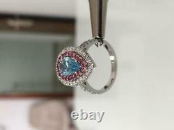 2.70 Ctw Diamond Fancy BLUE VVS2 Pear Shape 14k White Gold Ring GIA CERTIFIED