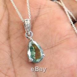 2.70 ct Blue Diamond Pendant in 925 Silver, Certified. LATEST DESIGN