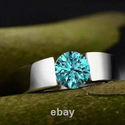 2.85 Ct Certified Blue Diamond Ring In White Gold, Great Shine & Luster