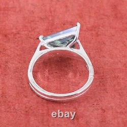 2.85 Ct Certified Trillion Shape Natural Earth Mined Greenish Blue Diamond Ring