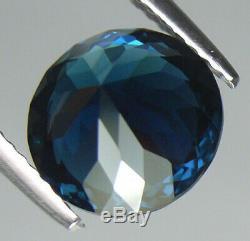 2.87ct Rare Certified Natural Portuguese Round Cut Blue Indicolite Tourmaline