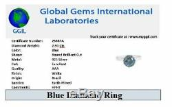 2.9Ct Certified Natural Earthmined Blue Diamond Ring, Excellent Cut & Luster