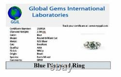2 Ct Certified Earth Mined Blue Diamond Solitaire Ring. 100% genuine