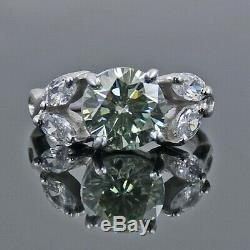 2 Ct Certified Earth Mined Blue Diamond Solitaire Ring With Stone Accents