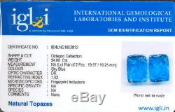 2 Pcs Natural Blue Topaz Pair Priceless Moghul Carved Certified Deluxe Gemstones