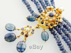 201ctw HANDMADE 22K GOLD SAPPHIRE PEARL BEAUTIFUL NECKLACE Certified $10,050.00