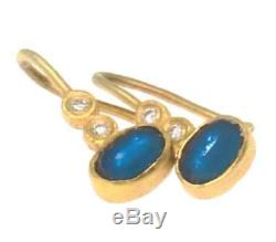 22ct Gold Sapphire and Diamond Earrings with 18ct loop, certified by H Samuels