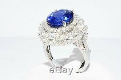$28,995 9.93ct Agl Certified Natural Blue Sapphire & Diamond Ring 18k White Gold
