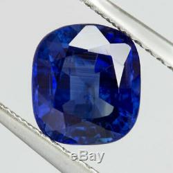 2ct GIA CERTIFIED NO HEAT ROYAL BLUE SAPPHIRE CUSHION CUT NATURAL ENGAGEMENT 7.5
