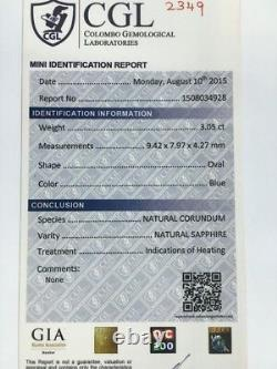 3.05 CTS Natural Blue sapphire Loose GemstoneNew Certified Sri Lanka