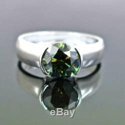 3.2 Ct Certified Blue Diamond Unisex Ring in White Gold, Excellent Cut & Lustre
