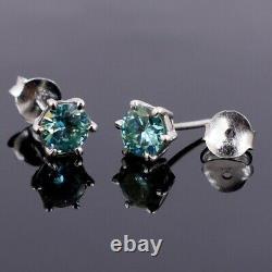 3.20 Ct Elegant Certified Blue Diamond Solitaire Studs, Excellent Cut & Luster