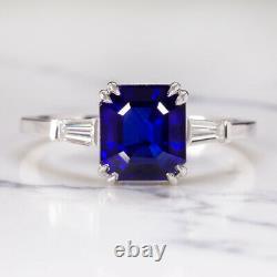 3.34ct GIA CERTIFIED SAPPHIRE DIAMOND ENGAGMENT RING ROYAL BLUE EMERALD CUT 3ct