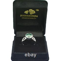 3.40 Ct Certified Round Brilliant Cut Blue Diamond Ring in Bezel, Great Shine