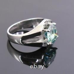 3.5Ct Certified Natural Earth Mined Blue Diamond Solitaire Ring, Excellent Luster