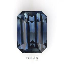 3.66ct GIA CERTIFIED NO HEAT SAPPHIRE GRAY BLUE EMERALD CUT NATURAL TEAL LOOSE