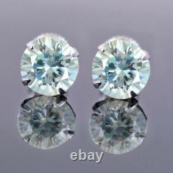 3.70 Ct Elegant Certified Blue Diamond Solitaire Studs, Excellent Cut & Luster