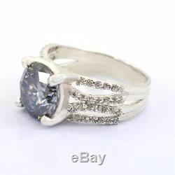 3.80 Ct Certified Light Blue Diamond Ring With White Stone Accents