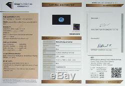 3.85ct Flawless Certified Precision Barion Cushion Cut Aaa Blue Aquamarine