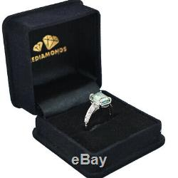 3.8ct Emerald Shape Blue Diamond Ring In Prong Setting- Certified, New Launch