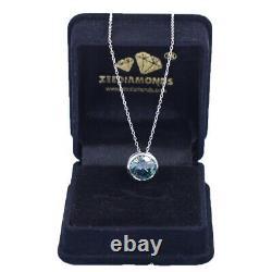 3.95Ct Certified Blue Diamond Solitaire Pendant in Bezel Setting, Excellent Cut