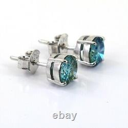 3 Ct Certified Blue Diamond Solitaire Studs With White Gold Finish Great Shine