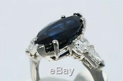 $34,000 7.02ct AGL Certified Natural Dark Blue Sapphire & Diamond Platinum Ring