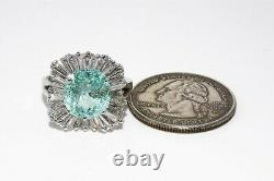 $34,750 6.88ct Agl Certified Natural Paraiba Tourmaline & Diamond Ring 18k Gold
